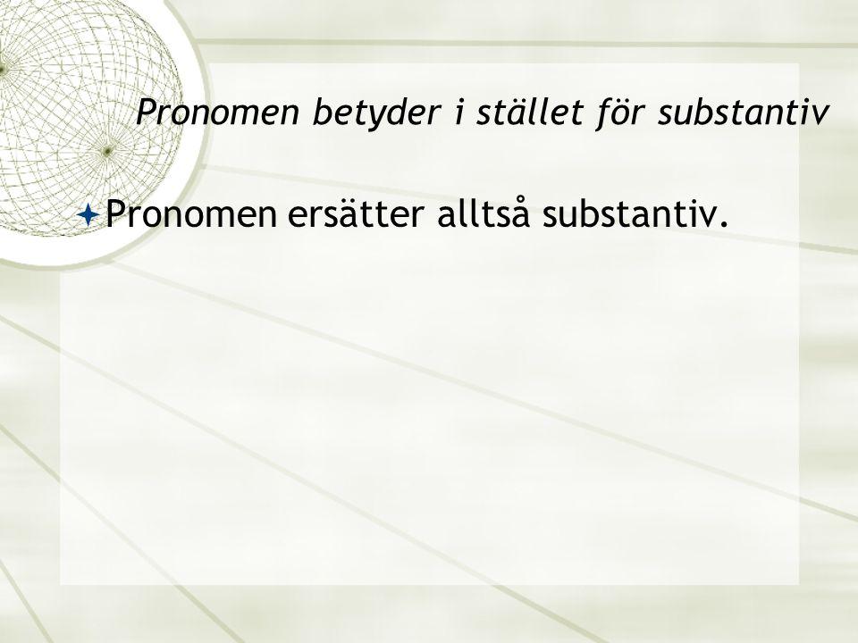 Pronomen betyder i stället för substantiv  Pronomen ersätter alltså substantiv.