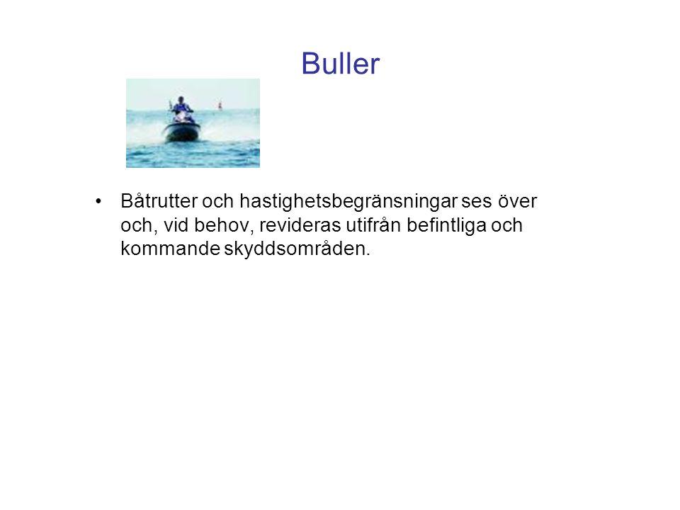 Buller •Båtrutter och hastighetsbegränsningar ses över och, vid behov, revideras utifrån befintliga och kommande skyddsområden.