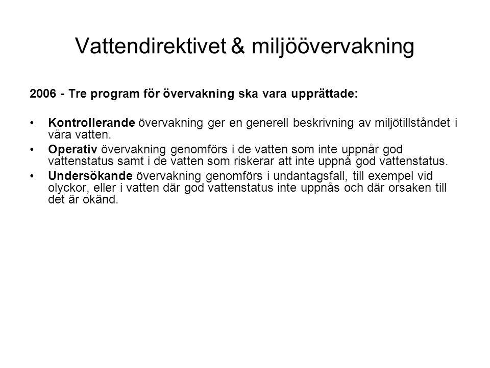 Vattendirektivet & miljöövervakning 2006 - Tre program för övervakning ska vara upprättade: •Kontrollerande övervakning ger en generell beskrivning av