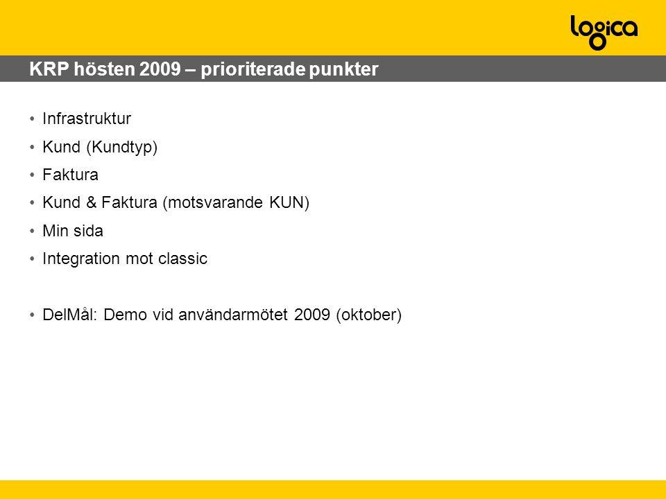 KRP hösten 2009 – prioriterade punkter •Infrastruktur •Kund (Kundtyp) •Faktura •Kund & Faktura (motsvarande KUN) •Min sida •Integration mot classic •DelMål: Demo vid användarmötet 2009 (oktober)
