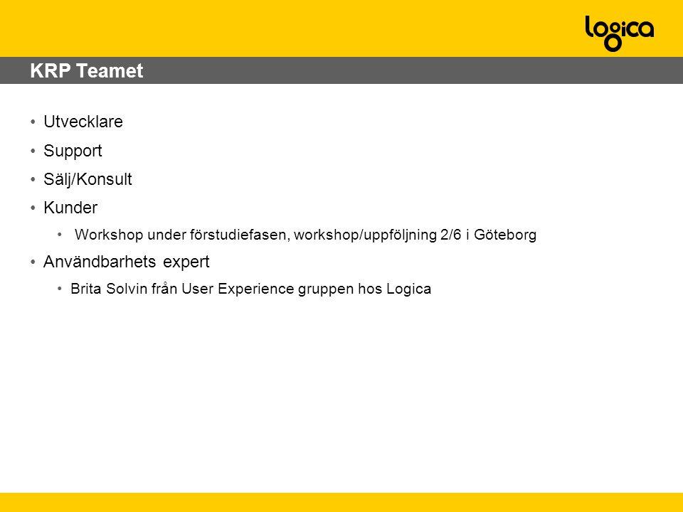 •Utvecklare •Support •Sälj/Konsult •Kunder • Workshop under förstudiefasen, workshop/uppföljning 2/6 i Göteborg •Användbarhets expert •Brita Solvin från User Experience gruppen hos Logica