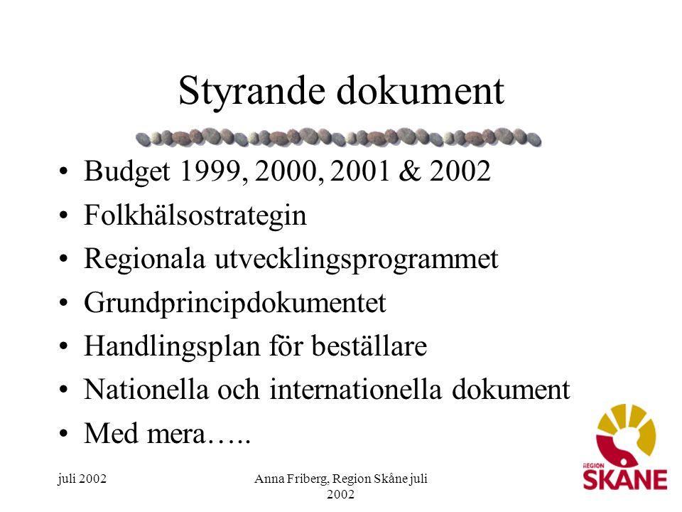 juli 2002Anna Friberg, Region Skåne juli 2002 10 Styrande dokument •Budget 1999, 2000, 2001 & 2002 •Folkhälsostrategin •Regionala utvecklingsprogramme