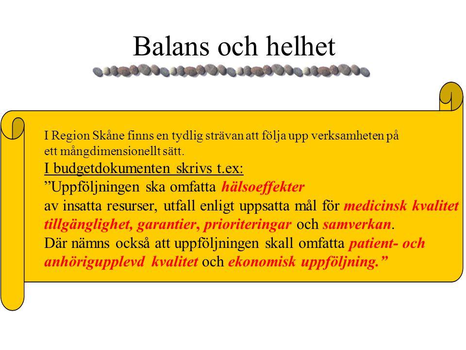 """Balans och helhet I Region Skåne finns en tydlig strävan att följa upp verksamheten på ett mångdimensionellt sätt. I budgetdokumenten skrivs t.ex: """"Up"""