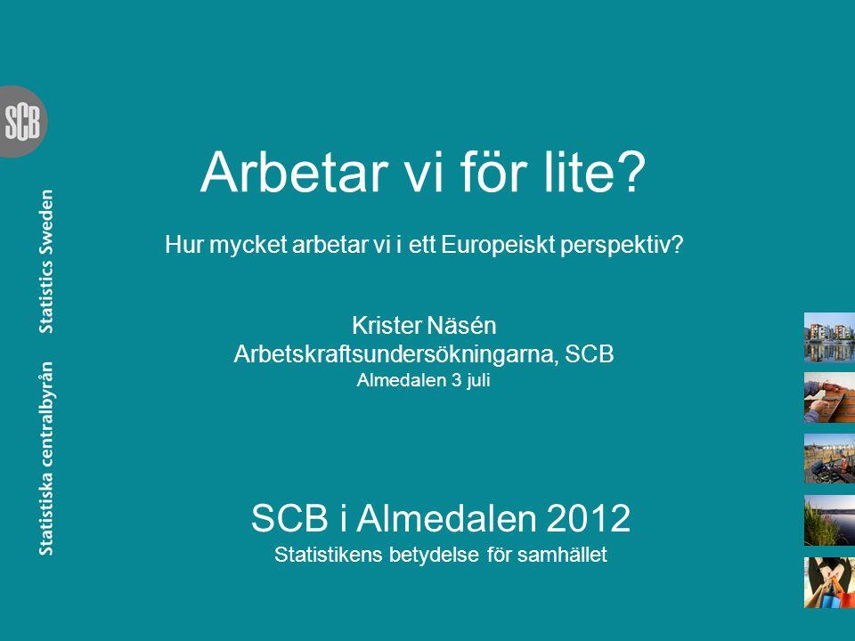 SCB i Almedalen 2012 Statistikens betydelse för samhället Arbetar vi för lite? Hur mycket arbetar vi i ett Europeiskt perspektiv? Krister Näsén Arbets