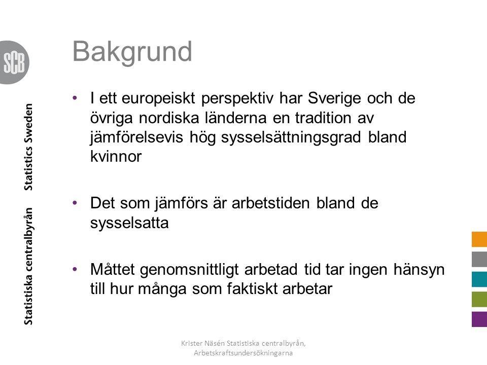 Bakgrund •I ett europeiskt perspektiv har Sverige och de övriga nordiska länderna en tradition av jämförelsevis hög sysselsättningsgrad bland kvinnor