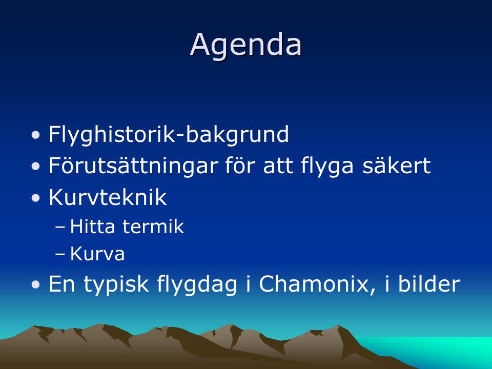 Agenda •Flyghistorik-bakgrund •Förutsättningar för att flyga säkert •Kurvteknik –Hitta termik –Kurva •En typisk flygdag i Chamonix, i bilder