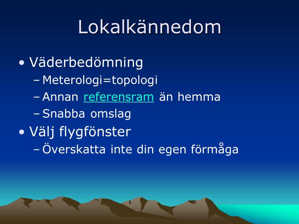 Lokalkännedom •Väderbedömning –Meterologi=topologi –Annan referensram än hemmareferensram –Snabba omslag •Välj flygfönster –Överskatta inte din egen förmåga