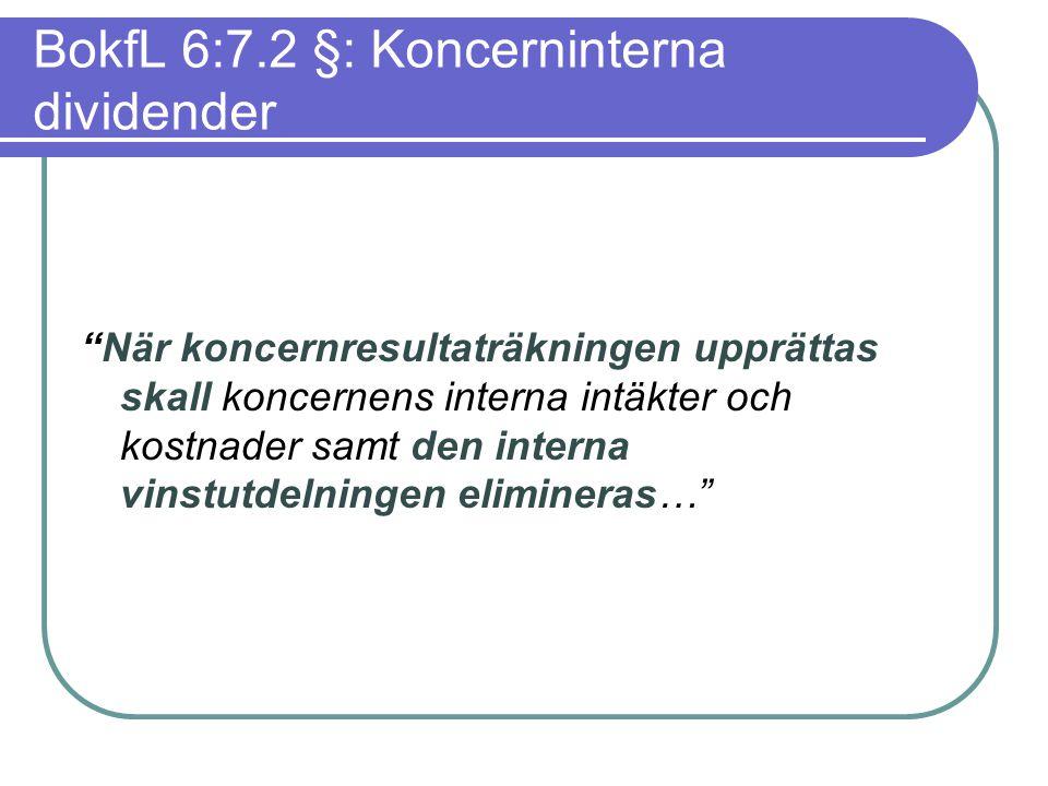 """BokfL 6:7.2 §: Koncerninterna dividender """"När koncernresultaträkningen upprättas skall koncernens interna intäkter och kostnader samt den interna vins"""
