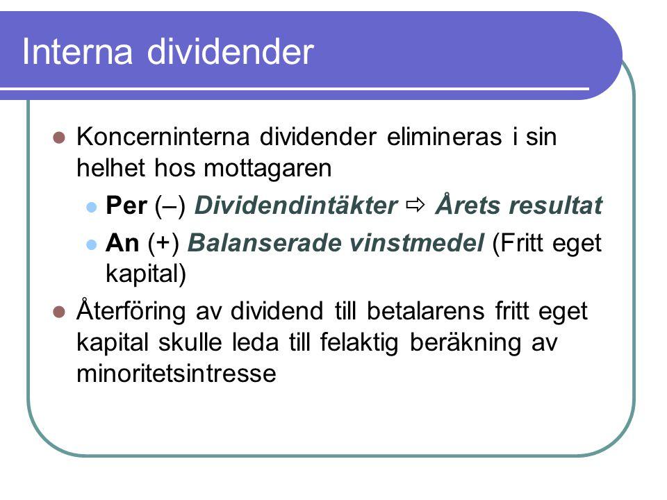 Interna dividender  Koncerninterna dividender elimineras i sin helhet hos mottagaren  Per (–) Dividendintäkter  Årets resultat  An (+) Balanserade
