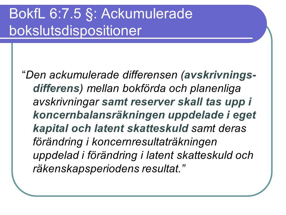 """BokfL 6:7.5 §: Ackumulerade bokslutsdispositioner """"Den ackumulerade differensen (avskrivnings- differens) mellan bokförda och planenliga avskrivningar"""