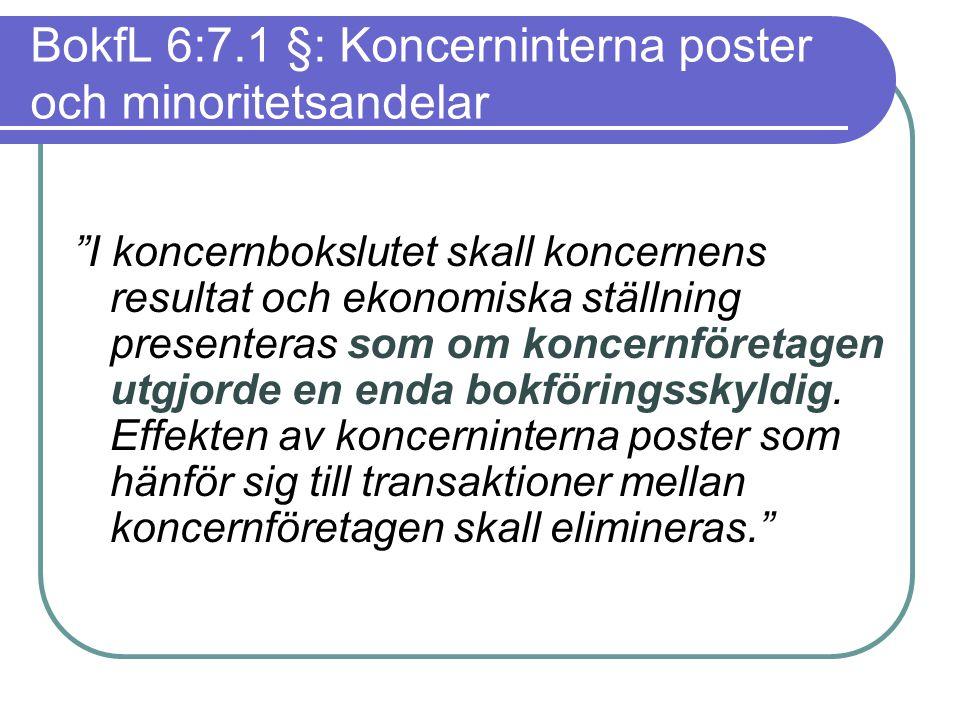 """BokfL 6:7.1 §: Koncerninterna poster och minoritetsandelar """"I koncernbokslutet skall koncernens resultat och ekonomiska ställning presenteras som om k"""