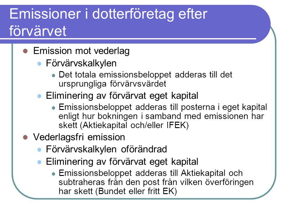 Emissioner i dotterföretag efter förvärvet  Emission mot vederlag  Förvärvskalkylen  Det totala emissionsbeloppet adderas till det ursprungliga för