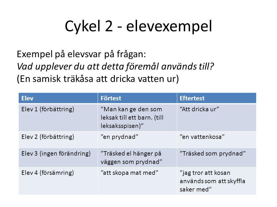 Cykel 2 - elevexempel Exempel på elevsvar på frågan: Vad upplever du att detta föremål används till? (En samisk träkåsa att dricka vatten ur) ElevFört