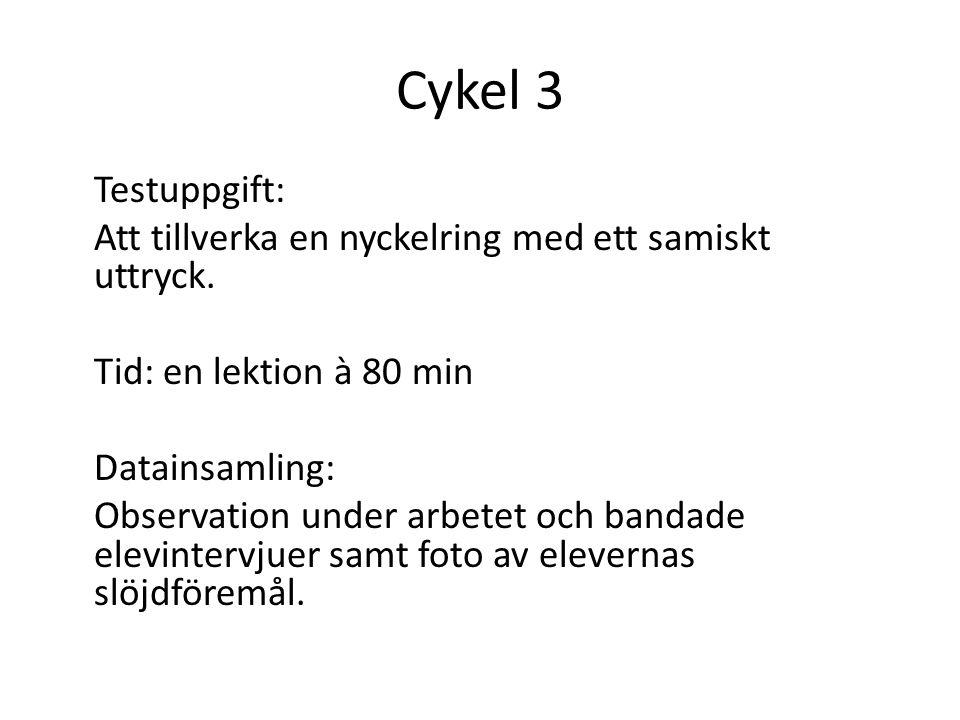Cykel 3 Testuppgift: Att tillverka en nyckelring med ett samiskt uttryck. Tid: en lektion à 80 min Datainsamling: Observation under arbetet och bandad