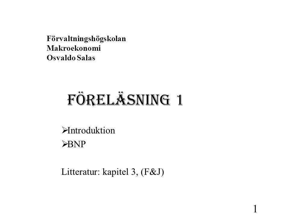 Förvaltningshögskolan Makroekonomi Osvaldo Salas FÖRELÄSNING 1  Introduktion  BNP Litteratur: kapitel 3, (F&J) 1
