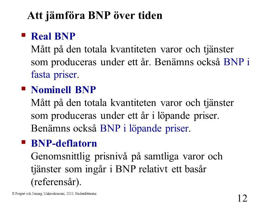© Fregert och Jonung, Makroekonomi, 2010, Studentlitteratur 12 Att jämföra BNP över tiden  Real BNP Mått på den totala kvantiteten varor och tjänster
