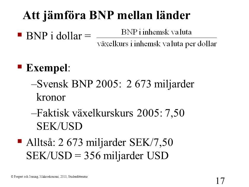 © Fregert och Jonung, Makroekonomi, 2010, Studentlitteratur 17 Att jämföra BNP mellan länder  BNP i dollar =  Exempel: –Svensk BNP 2005: 2 673 milja