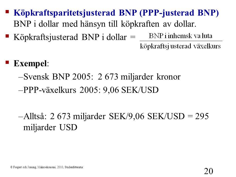 © Fregert och Jonung, Makroekonomi, 2010, Studentlitteratur 20  Köpkraftsparitetsjusterad BNP (PPP-justerad BNP) BNP i dollar med hänsyn till köpkraf