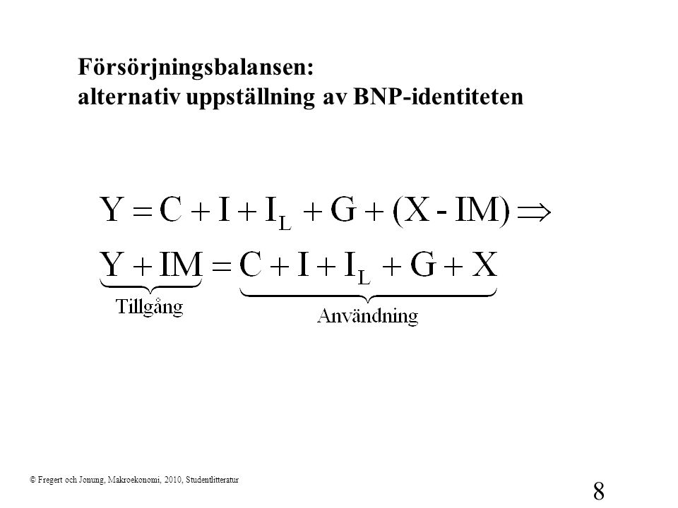 © Fregert och Jonung, Makroekonomi, 2010, Studentlitteratur 8 Försörjningsbalansen: alternativ uppställning av BNP-identiteten