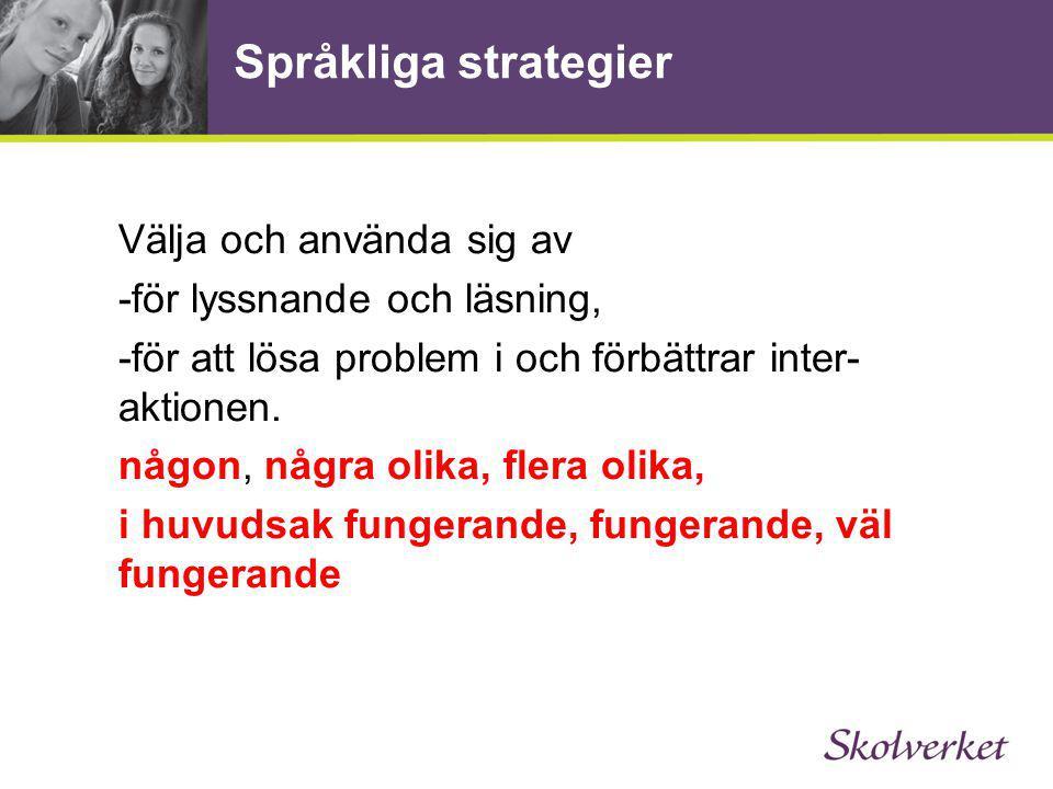 Språkliga strategier Välja och använda sig av -för lyssnande och läsning, -för att lösa problem i och förbättrar inter- aktionen. någon, några olika,