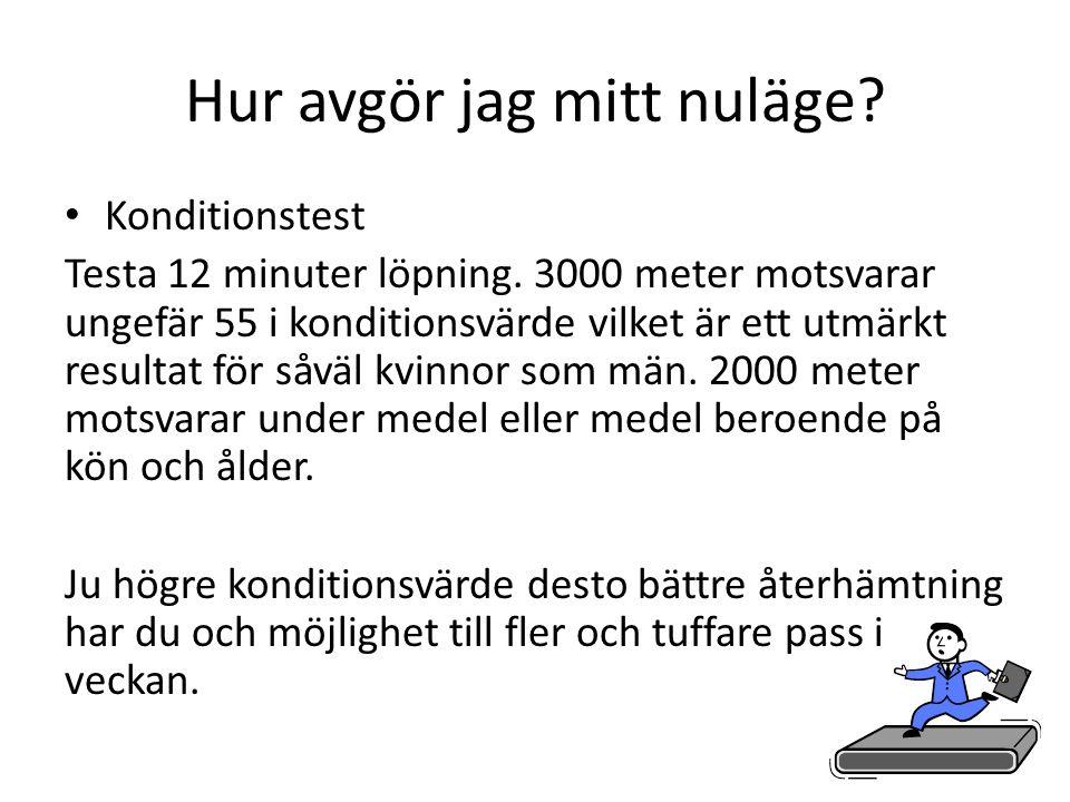 Hur avgör jag mitt nuläge.• Konditionstest Testa 12 minuter löpning.