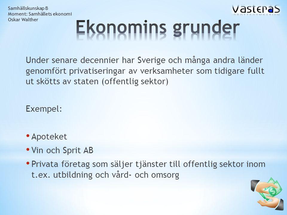 Under senare decennier har Sverige och många andra länder genomfört privatiseringar av verksamheter som tidigare fullt ut skötts av staten (offentlig