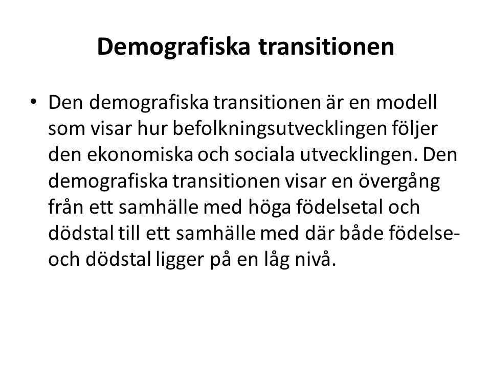Demografiska transitionen • Den demografiska transitionen är en modell som visar hur befolkningsutvecklingen följer den ekonomiska och sociala utveckl