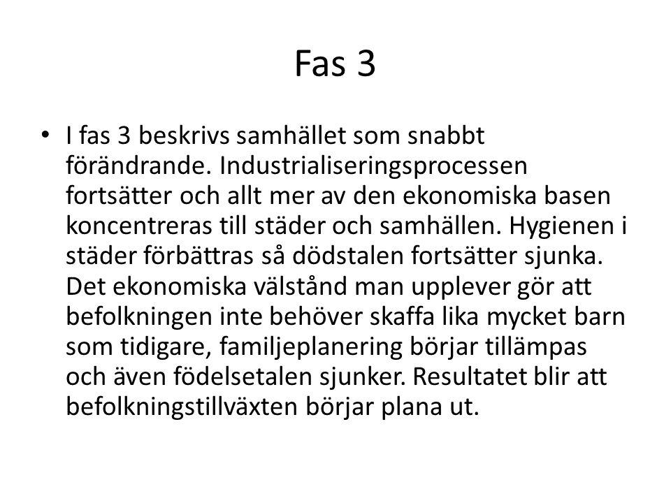 Fas 3 • I fas 3 beskrivs samhället som snabbt förändrande. Industrialiseringsprocessen fortsätter och allt mer av den ekonomiska basen koncentreras ti