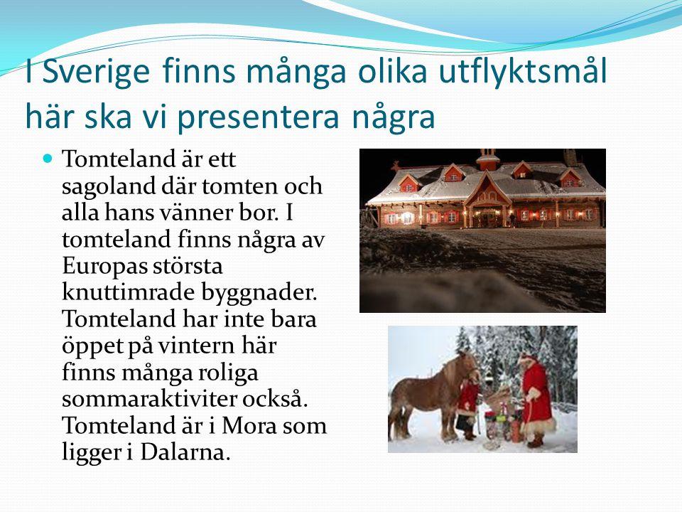 I Sverige finns många olika utflyktsmål här ska vi presentera några  Tomteland är ett sagoland där tomten och alla hans vänner bor.