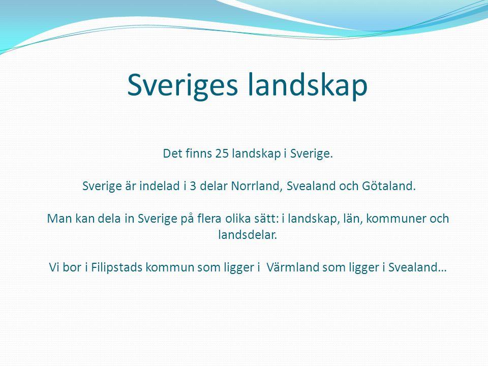 Sveriges landskap Det finns 25 landskap i Sverige. Sverige är indelad i 3 delar Norrland, Svealand och Götaland. Man kan dela in Sverige på flera olik