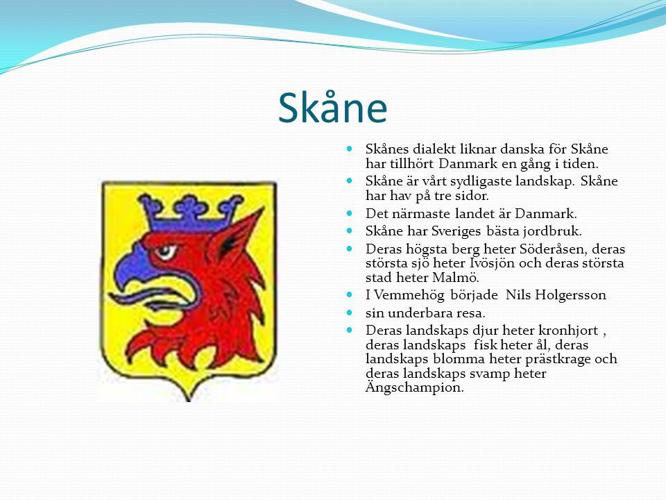 Skåne  Skånes dialekt liknar danska för Skåne har tillhört Danmark en gång i tiden.