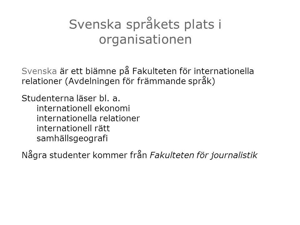 Svenska är ett biämne på Fakulteten för internationella relationer (Avdelningen för främmande språk) Studenterna läser bl. a. internationell ekonomi i