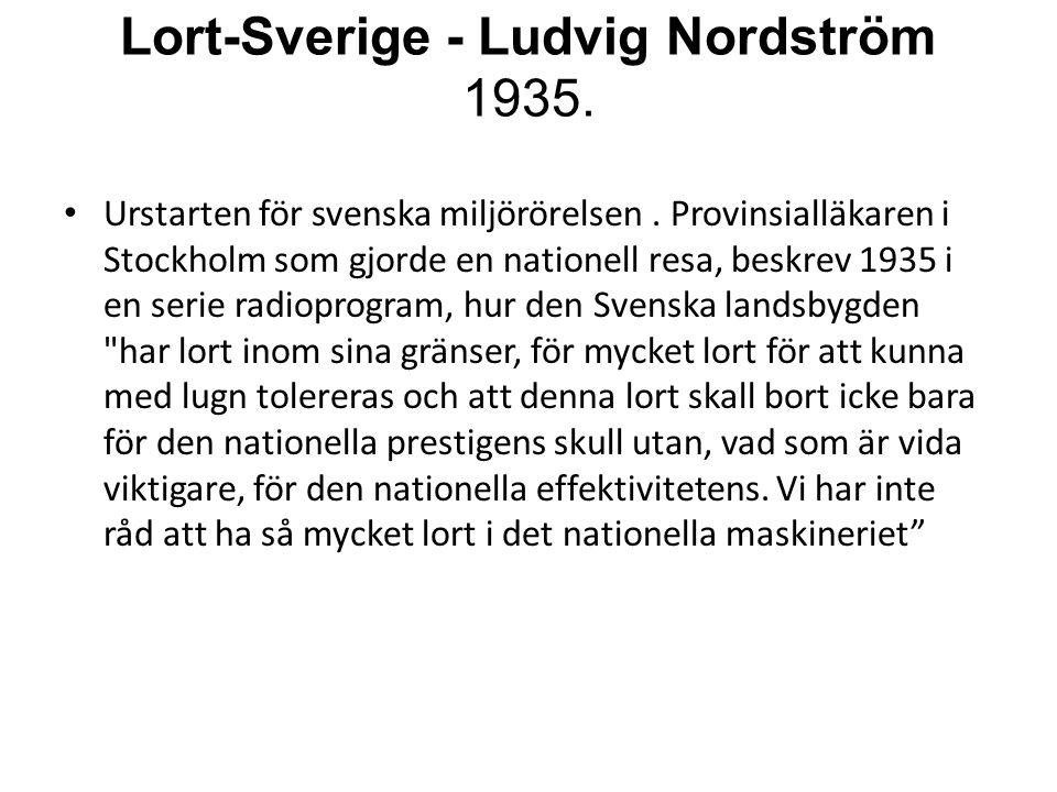 Lort-Sverige - Ludvig Nordström 1935. • Urstarten för svenska miljörörelsen. Provinsialläkaren i Stockholm som gjorde en nationell resa, beskrev 1935