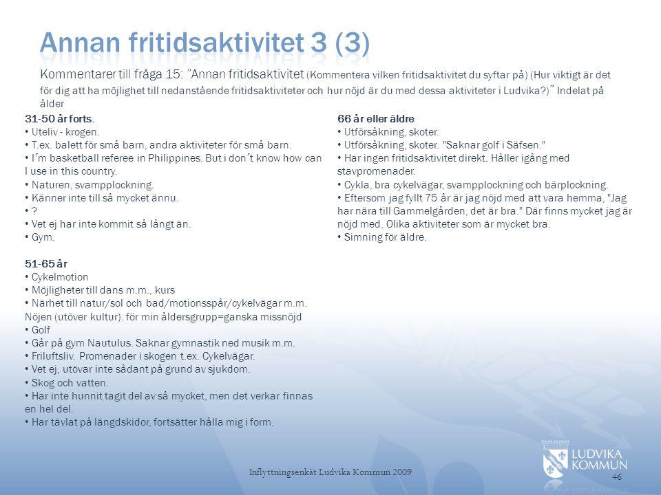 46 Inflyttningsenkät Ludvika Kommun 2009 31-50 år forts.