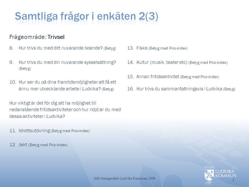 56 Inflyttningsenkät Ludvika Kommun 2009 31-50 år forts • Att det mesta verkar finnas.