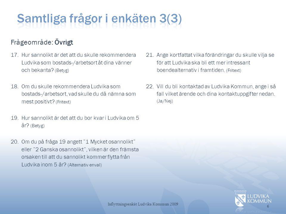 Sammanfattning 7 Inflyttningsenkät Ludvika Kommun 2009