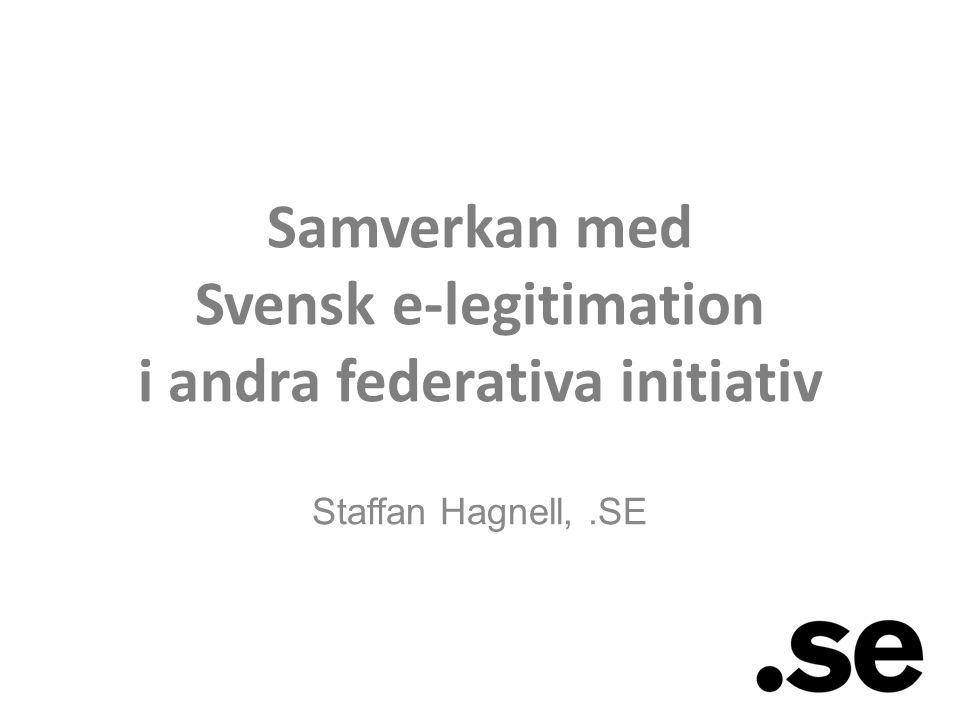 Staffan Hagnell,.SE Samverkan med Svensk e-legitimation i andra federativa initiativ