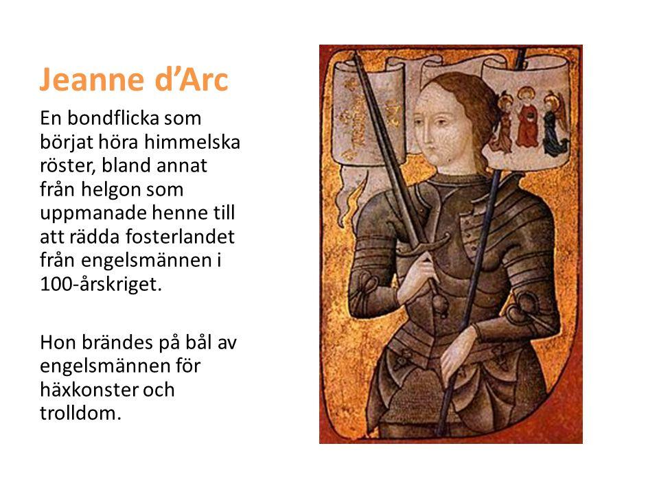 Jeanne d'Arc En bondflicka som börjat höra himmelska röster, bland annat från helgon som uppmanade henne till att rädda fosterlandet från engelsmännen
