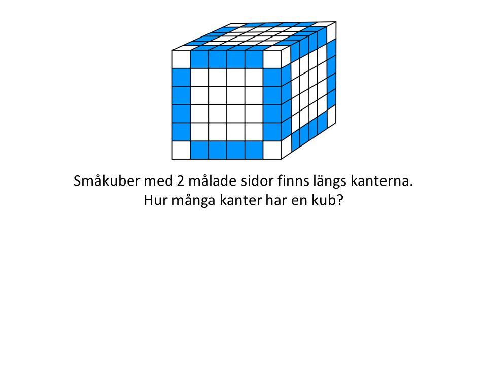 Småkuber med 2 målade sidor finns längs kanterna. Hur många kanter har en kub?
