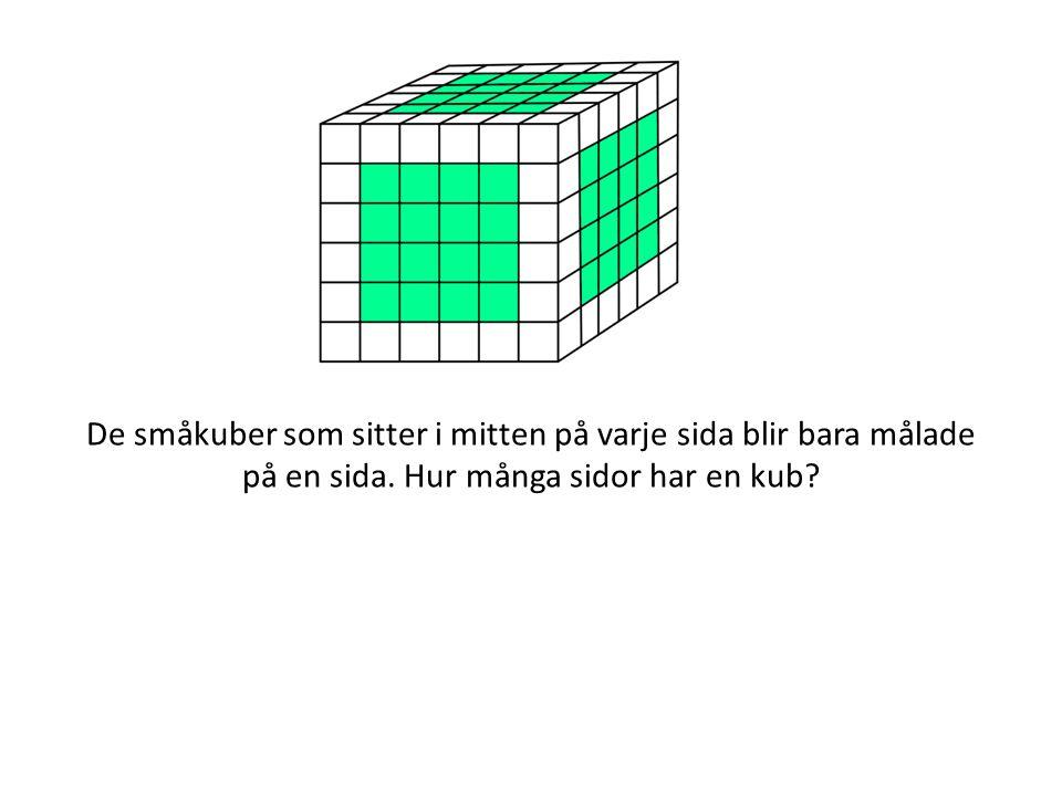 De småkuber som sitter i mitten på varje sida blir bara målade på en sida. Hur många sidor har en kub?