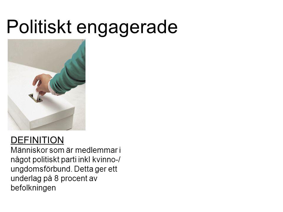 Politiskt engagerade DEFINITION Människor som är medlemmar i något politiskt parti inkl kvinno-/ ungdomsförbund.