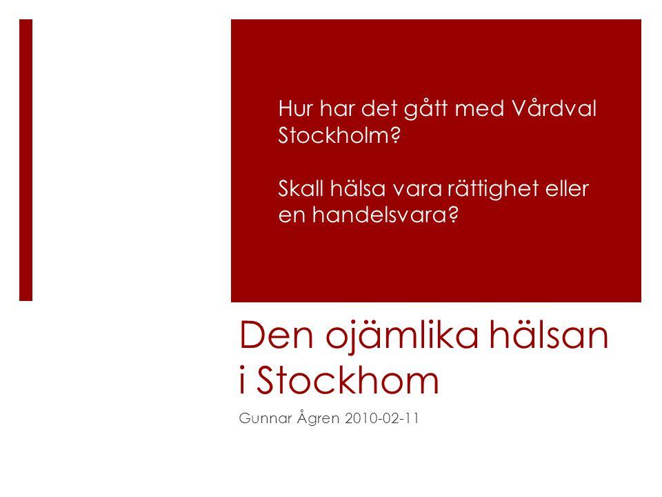 Den ojämlika hälsan i Stockhom Gunnar Ågren 2010-02-11 Hur har det gått med Vårdval Stockholm.