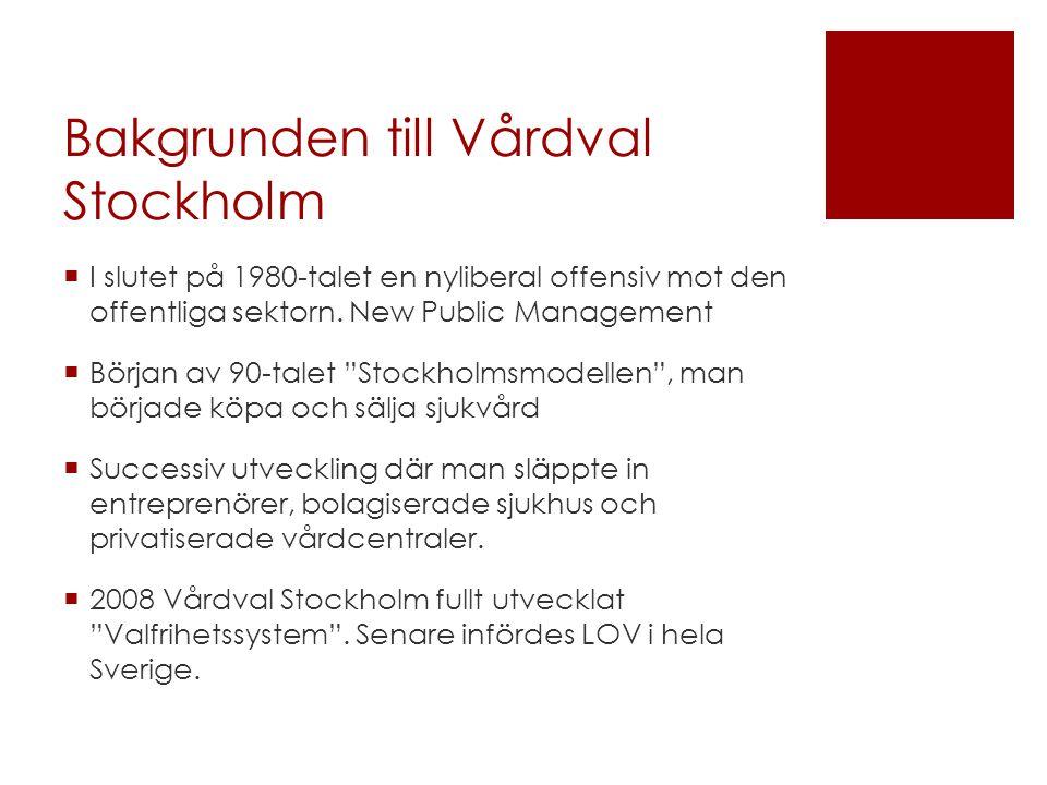 Bakgrunden till Vårdval Stockholm  I slutet på 1980-talet en nyliberal offensiv mot den offentliga sektorn.