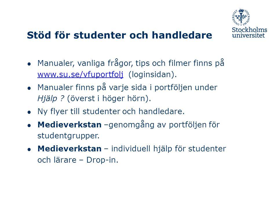 Stöd för studenter och handledare ● Manualer, vanliga frågor, tips och filmer finns på www.su.se/vfuportfolj (loginsidan).