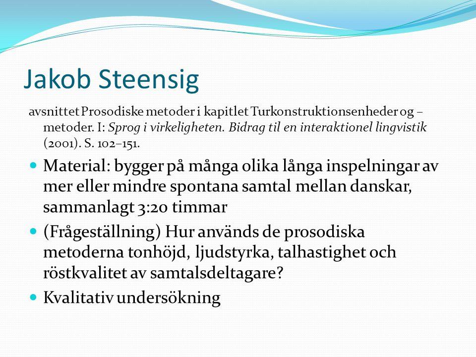 Jakob Steensig avsnittet Prosodiske metoder i kapitlet Turkonstruktionsenheder og – metoder. I: Sprog i virkeligheten. Bidrag til en interaktionel lin