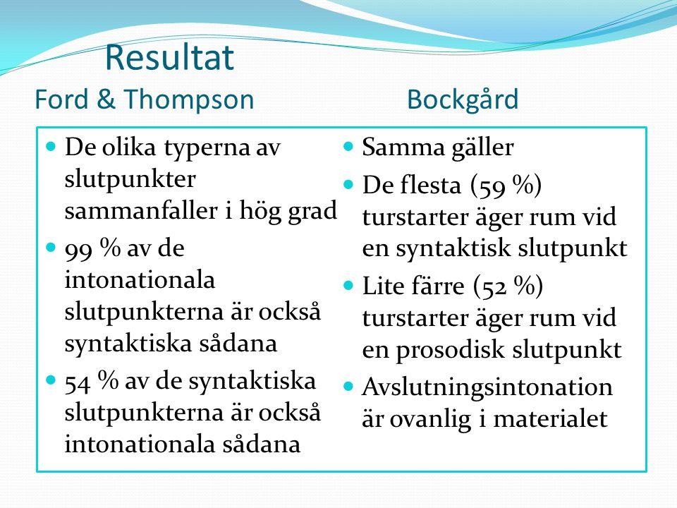 Ford & ThompsonBockgård  De olika typerna av slutpunkter sammanfaller i hög grad  99 % av de intonationala slutpunkterna är också syntaktiska sådana