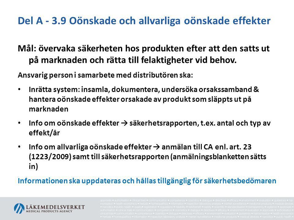 Del A - 3.9 Oönskade och allvarliga oönskade effekter Mål: övervaka säkerheten hos produkten efter att den satts ut på marknaden och rätta till felakt