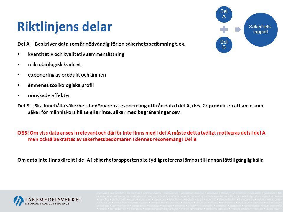 Riktlinjens delar Del A - Beskriver data som är nödvändig för en säkerhetsbedömning t.ex. • kvantitativ och kvalitativ sammansättning • mikrobiologisk