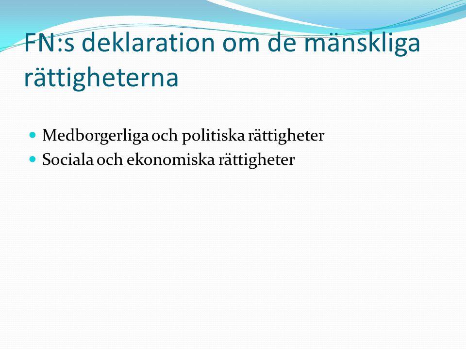 FN:s deklaration om de mänskliga rättigheterna  Medborgerliga och politiska rättigheter  Sociala och ekonomiska rättigheter