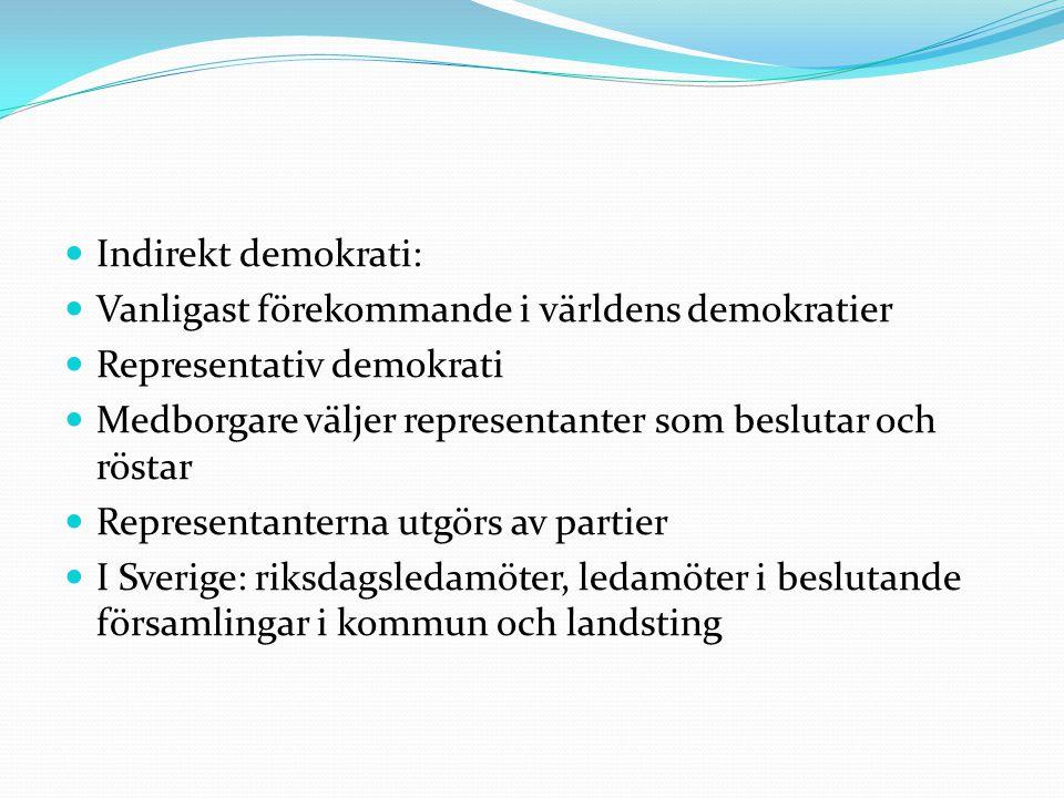  Indirekt demokrati:  Vanligast förekommande i världens demokratier  Representativ demokrati  Medborgare väljer representanter som beslutar och rö